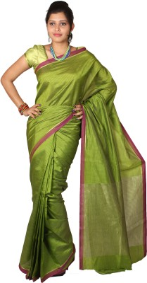 Mimosa Checkered Kanjivaram Handloom Art Silk Saree(Green)  available at flipkart for Rs.699