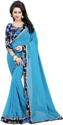 Anugrah Textile Self Design Coimbatore Georgette, Chiffon, Cotton Saree(Light Blue)