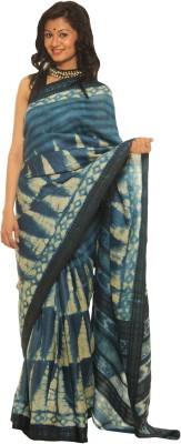 Indo Mood Printed Fashion Tussar Silk Saree(Blue)