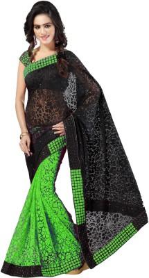 Aruna Sarees Self Design, Embroidered Bollywood Handloom Net, Brasso Saree(Green, Black)