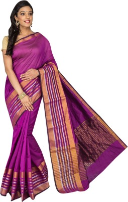 Korni Solid, Striped Banarasi Cotton, Silk Saree(Purple)