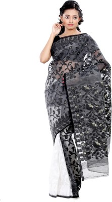 B3Fashion Solid Jamdani Cotton Saree(White, Grey)