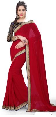 Indianbeauty Solid, Printed Bollywood Chiffon Saree(Maroon)