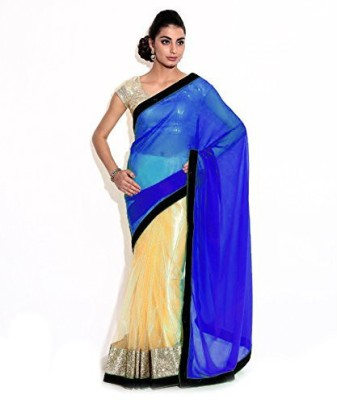 Bollywood Designer Solid Fashion Net Saree(Light Blue)  available at flipkart for Rs.492
