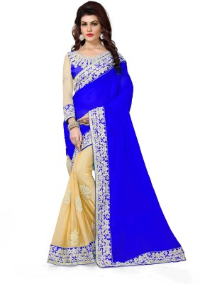 Shree Creation Embroidered Bollywood Poly Silk Saree Blue, Beige