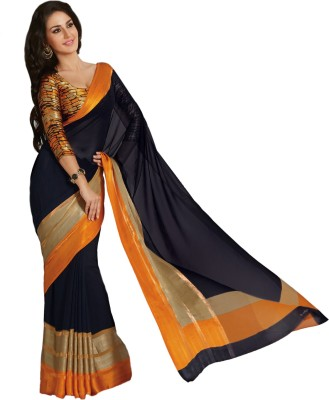 Taanshi Solid Bollywood Poly Georgette Saree(Black) at flipkart