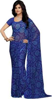 Rani Saahiba Printed Bandhej Synthetic Chiffon Saree(Dark Blue) Flipkart