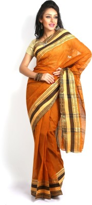 Purabi Woven Tant Handloom Cotton Saree(Brown)