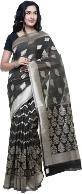 BlackBeauty Self Design Bollywood Cotton Blend Saree(Silver, Black) at flipkart