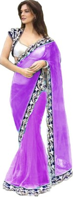 Bollywood Designer Embroidered Fashion Net Saree(Purple)  available at flipkart for Rs.779
