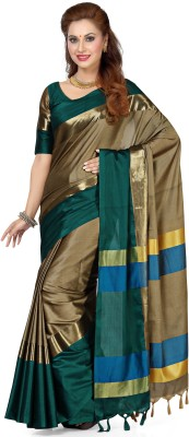 Bhuwal Fashion Solid, Woven Fashion Silk Cotton Blend, Jacquard Saree(Green)