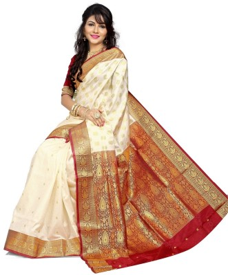 JagannathSaree Self Design Fashion Silk Saree(Red, Beige)