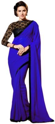 Hari Krishna Enterprise Embroidered Fashion Georgette Saree(Blue)  available at flipkart for Rs.475