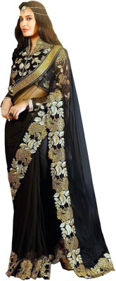 Sareeberry Embroidered Bollywood Net Saree(Black)