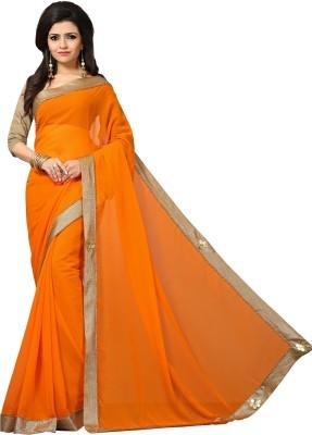 Indianbeauty Embroidered Fashion Georgette Saree(Orange)