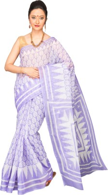 Korni Solid, Striped Mangalagiri Polycotton Saree(Purple)