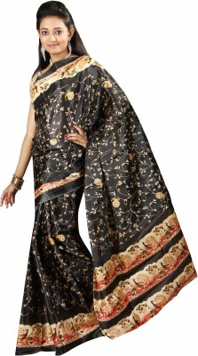 Anushree Saree Printed Fashion Silk Saree(Black)