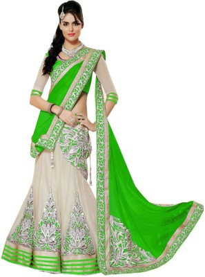 Senorita Fashion Embellished Lehenga, Choli and Dupatta Set(Green)