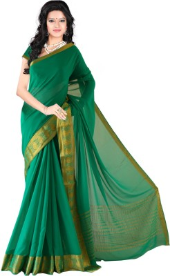 Roopkala Silks Solid Mysore Chiffon Saree(Green)