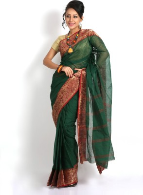 Purabi Woven Tant Handloom Cotton Saree(Green)