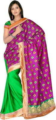 MGS Self Design Fashion Georgette Saree(Green)