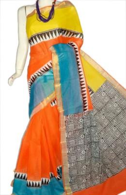 MCLS FASHION Printed, Hand Painted Fashion Cotton Saree(Orange, Yellow, Light Blue, Black, White)