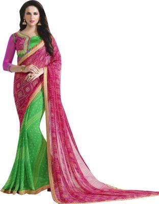 Shaily Retails Embellished Bandhani Poly Georgette Saree(Pink) at flipkart