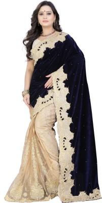 Jay Fashion Self Design Bollywood Velvet, Net Saree(Blue, Beige)