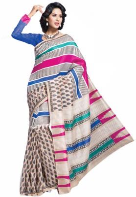 Sunaina Printed Silk, Cotton Saree(Multicolor)