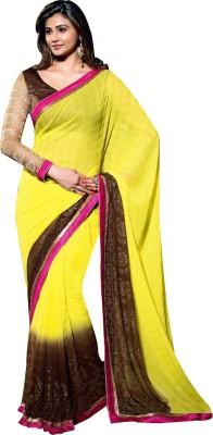 Bhavi Self Design Fashion Georgette Saree(Yellow)