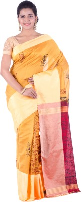 KheyaliBoutique Graphic Print Phulia Handloom Silk Cotton Blend Saree(Red, Yellow)