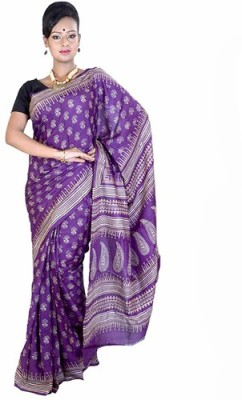 Fashionvibes Printed Murshidabad Handloom Art Silk Saree(Purple) at flipkart