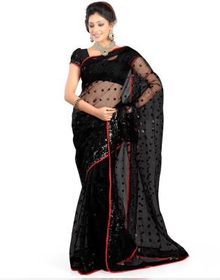 First Lady Embroidered Fashion Handloom Net Saree(Black)