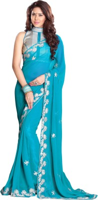 Sourbh Sarees Embroidered Fashion Georgette Saree(Light Blue) Flipkart