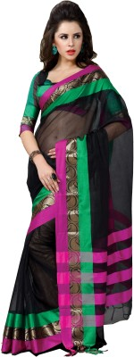 Ishin Printed Fashion Cotton Saree(Black)