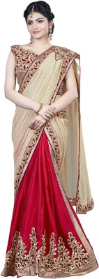 Mahotsav Embroidered Fashion Chiffon Saree(Red) at flipkart
