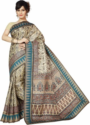 Rani Saahiba Applique Bhagalpuri Art Silk Saree(Blue)