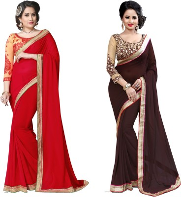 Indianbeauty Self Design, Solid, Printed Bollywood Chiffon Saree(Pack of 2, Brown, Red)
