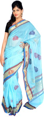 Jagadamba Solid Coimbatore Art Silk Saree(Light Blue)