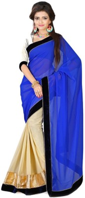 Bollywood Designer Solid Fashion Net Saree(Light Blue)  available at flipkart for Rs.498