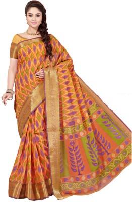 M.S.Retail Printed Gadwal Cotton Saree(Orange)