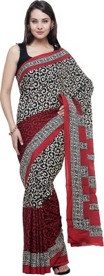 BlackBeauty Embroidered Fashion Raw Silk Saree(Multicolor) at flipkart
