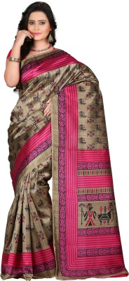 VASTRAKALA Printed Bollywood Art Silk Saree Multicolor