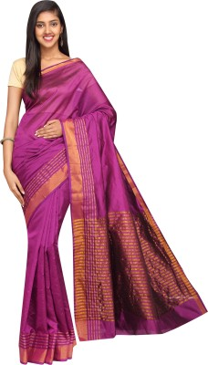 Korni Solid, Striped Banarasi Banarasi Silk Saree(Purple)