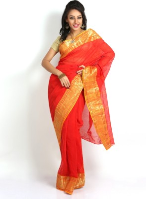 Purabi Woven Tant Handloom Cotton Saree(Red)