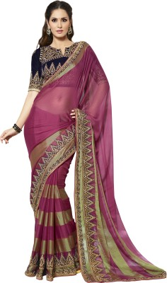 Kvsfab Self Design Fashion Georgette Saree(Pink, Beige)