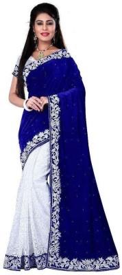 V J Fashion Self Design, Embellished Bollywood Handloom Velvet, Net, Kota Cotton Saree(Blue, White)