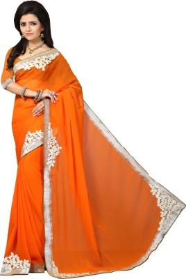 Indianbeauty Self Design, Solid, Embroidered Fashion Georgette Saree(Orange)