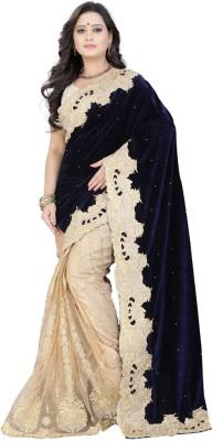 Jay Fashion Self Design Fashion Velvet, Net Saree(Blue, Beige)