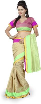 Ishin Solid, Checkered Fashion Cotton Saree(Beige)